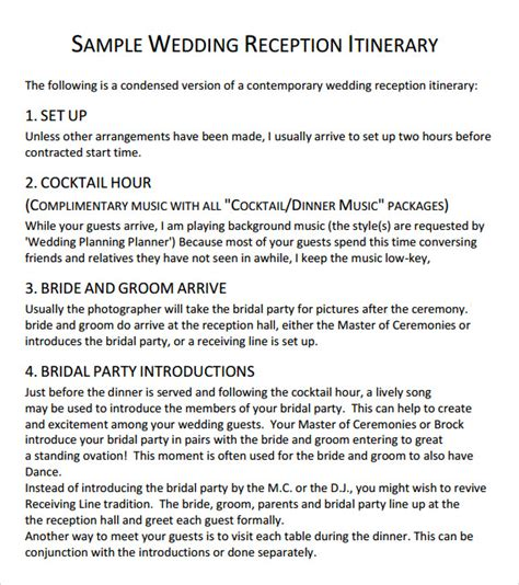wedding reception agenda template wedding agenda 9 free documents in pdf