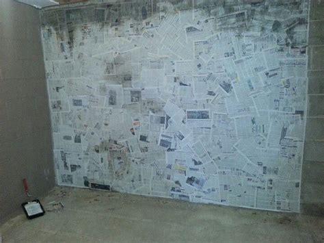 How To Make Paper Mache Wall - paper mache wall newspaper basement cinder block walls