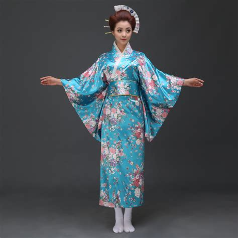 Geishana Dress 2016 Blue Japanese Traditional Kimono Yukata Costume Dress
