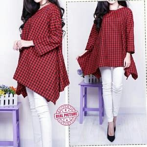 Blouse Jumbo Bunga baju atasan blouse wanita jumbo motif kotak lengan panjang