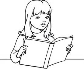 Printable outline of a girl reading a book coloring point