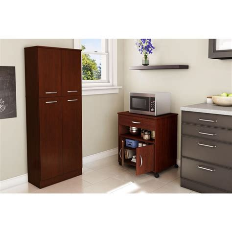 microwave cabinet home depot south shore axess royal cherry microwave cart with storage