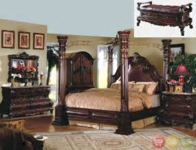 King Canopy Bedroom Furniture Sets King Cherry Poster Canopy Bed W Leather 5 Bedroom