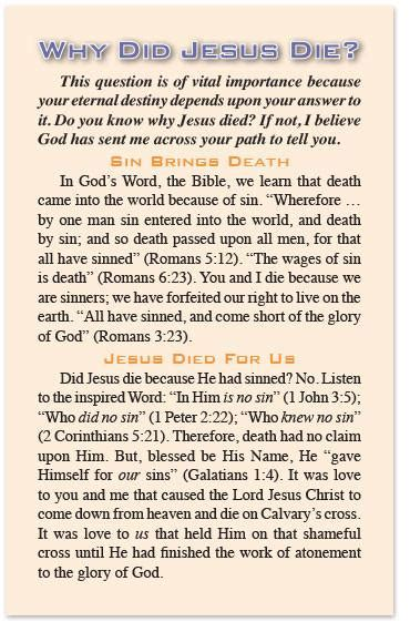 What Calendar Did Jesus Use Gospel Tract Why Did Jesus Die Moments With The Book