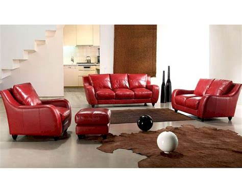 red couch set contemporary full leather red sofa set 44l2540 red