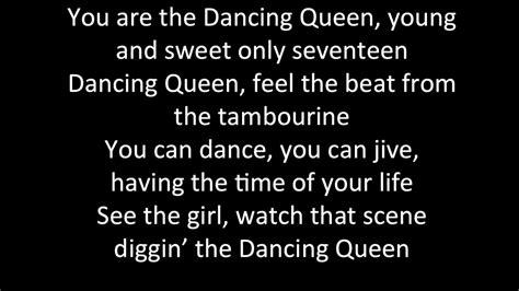 printable lyrics dancing queen abba abba dancing queen lyrics youtube
