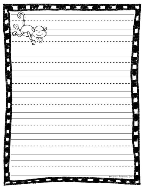 k5 printable writing paper kindergarten handwriting worksheets blank 6 best images