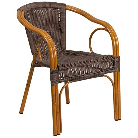 Aluminum Bamboo Patio Chair with Dark Brown Rattan and