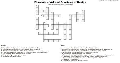 design artist crossword clue crossword elements and principles of design