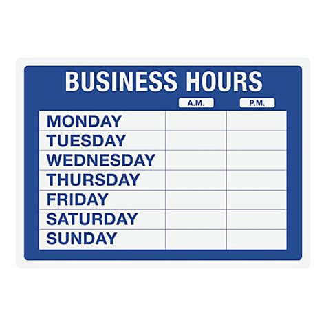 cosco static cling business hours sign kit 10 x 14 blue by