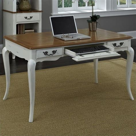 executive desk in oak and rubbed white 5518 15