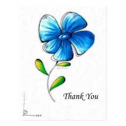 beautiful thank you cards thank you card beautiful simple blue flower design postcard zazzle