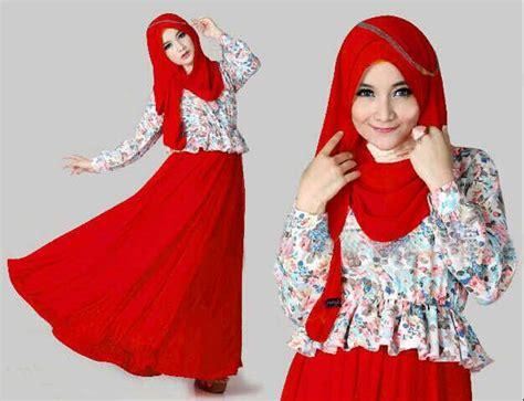Longdress Batik Merah setelan baju dress muslim cantik quot maxi kenyo