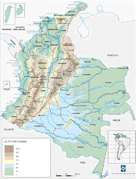 physical map of colombia physical geography of colombia map