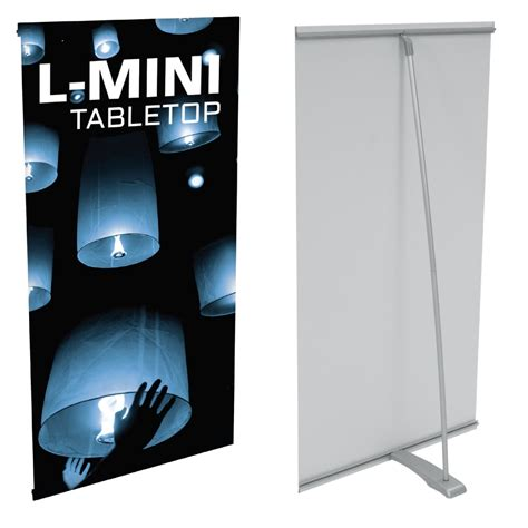 l on a stand l mini single sided tabletop tension stand display