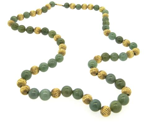 jade bead necklace gumps jade bead gold necklace at 1stdibs