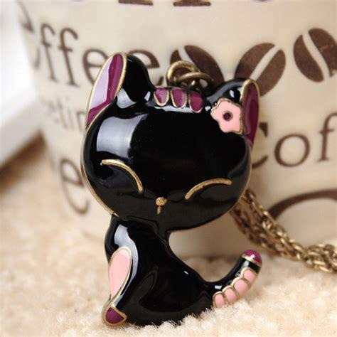 Black Lovely Cat fashion vintage black lovely cat shaped metal necklace