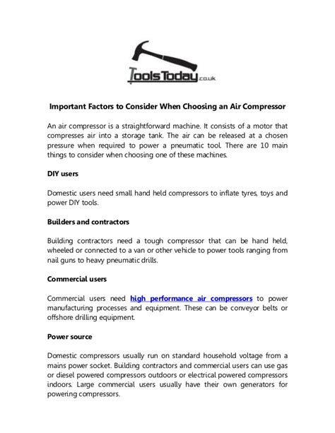 important factors to consider when choosing an air compressor