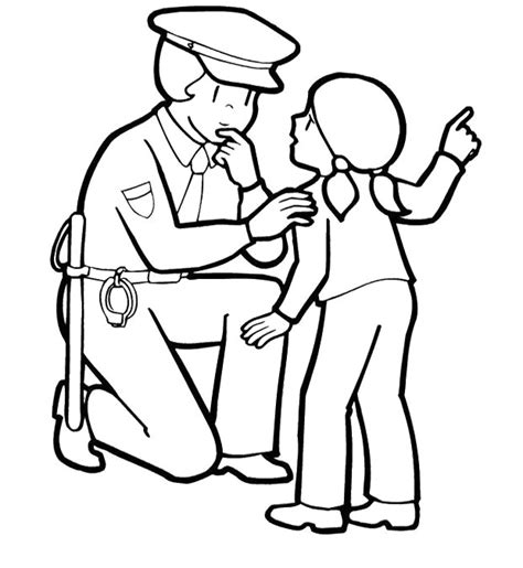 officer police woman and children coloring pages police