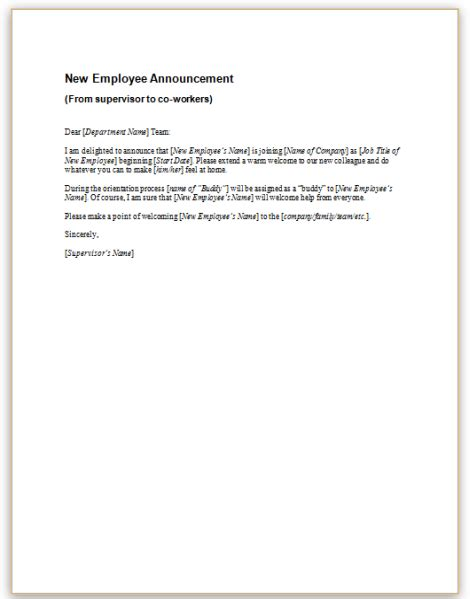 Sle Letter Announcing New Employee To Employees Pictures New Hire Announcement Sle Quotes