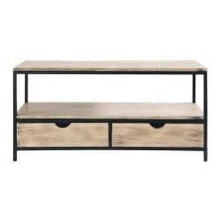 meuble tv indus en m 233 tal et bois massif noir l 117 cm