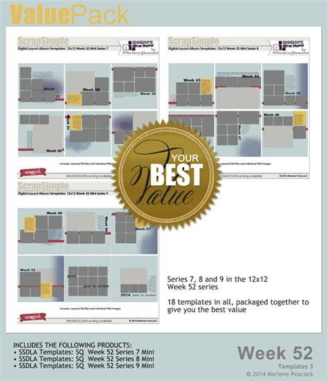 Sq 52 by Value Pack Week 52 Sq Templates 3