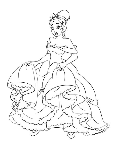 printable pictures princess free printable princess tiana coloring pages for kids