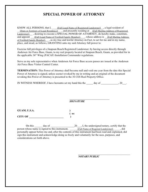 Special Power Of Attorney Template jinapsan power of attorney template