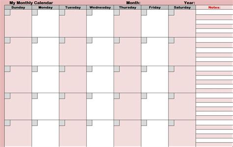 Blank Activity Calendar Template by 14 Blank Activity Calendar Template Images Printable