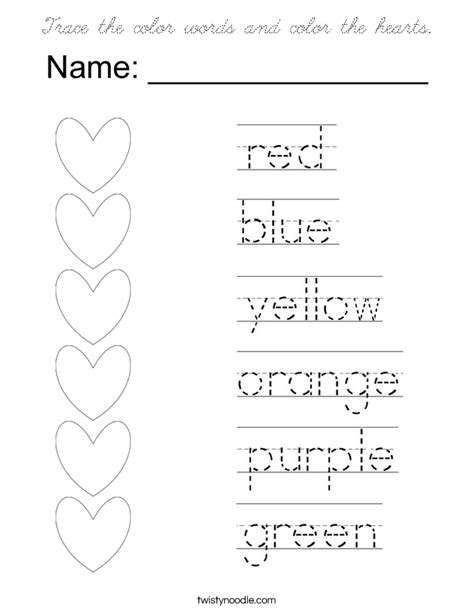 trace the color words and color the hearts coloring page