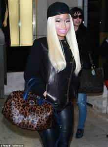 top to toe nicki minaj sports top to toe leather for afternoon of