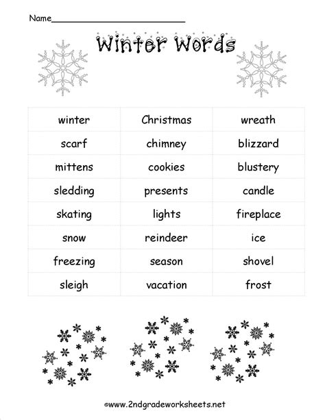 5 Letter Words Related To Winter worksheets and printouts