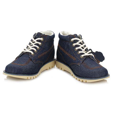 Kickers Casual Pro kickers womens kick hi denim boots blue laceup