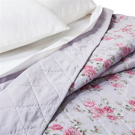 purple berry rose linen blend quilt simply shabby chic target