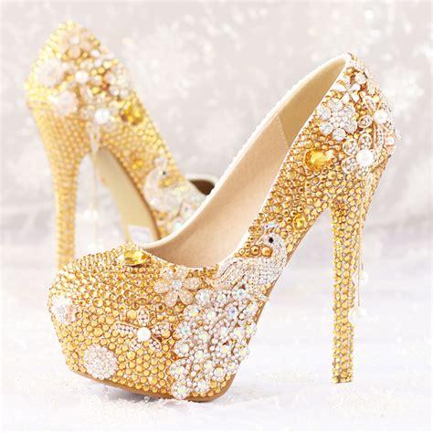 gold rhinestone high heels glitter gold rhinestone wedding shoes 5 inches high heel