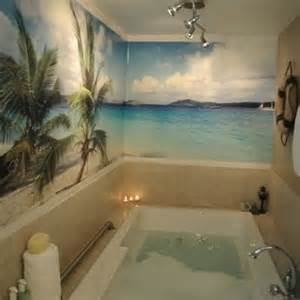 beach themed wall murals going wild with coastal wallpaper in the bathroom