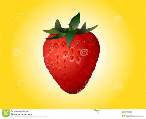 Strawberry Yellow strawberry on bright yellow stock vector illustration of