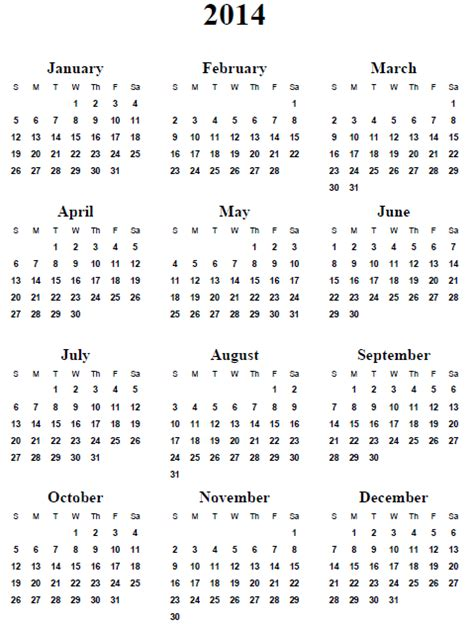 yearly calendar 2014 yearly calendar printable