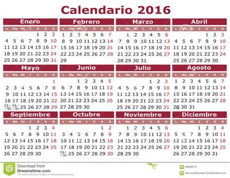 Calendrier Espagnol 2016 Illustration Stock Image 60928914