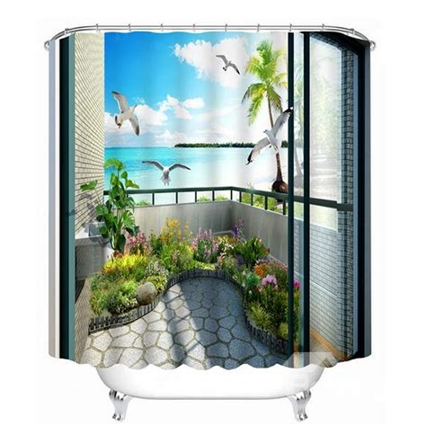 3d Shower Curtains by Beautiful In The Balcony Print 3d Bathroom Shower