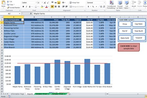 Real Estate Comparables Spreadsheet by Commercial Property Analysis Templates Resheets