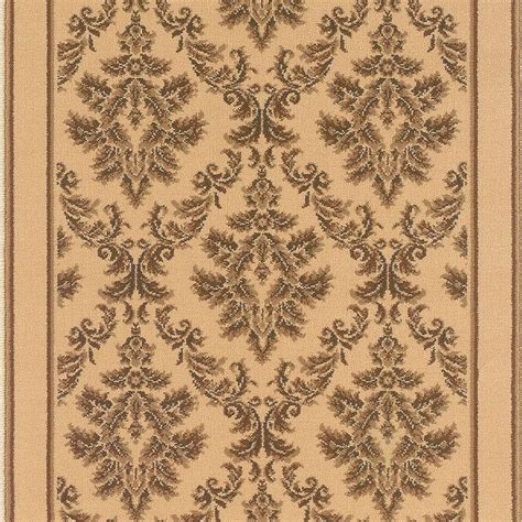 roll runner rugs natco kurdamir damask ivory 33 in x your choice length roll runner 2069ivwrh the home depot