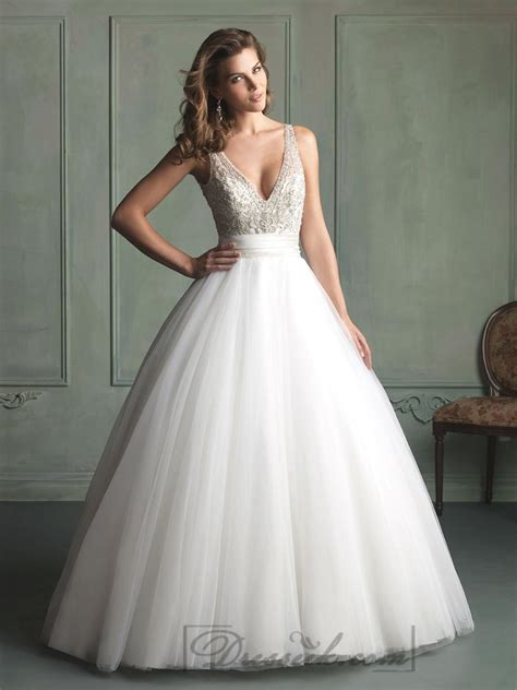 deep v neck and v back beaded bodice ball gown wedding