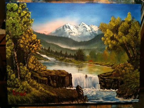 bob ross painting style flowing falls 24x18 bob ross style landscape painting