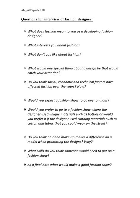 design questions questions for interview fashion designer