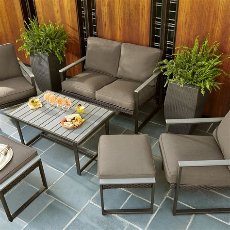 Ty Pennington Style Walken 6 Piece Seating Set Faux Wood Patio Furniture