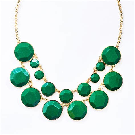 green necklace bauble box bib row collar necklace with emerald