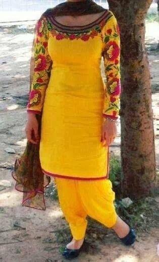 embroidery punjabi suits pinterest yellow punjabi suit with embroidery punjabi suits and