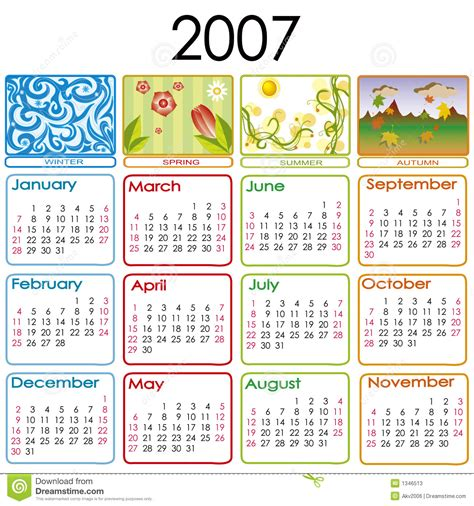 Calendar For 2007 Calendar For 2007 Stock Photos Image 1346513