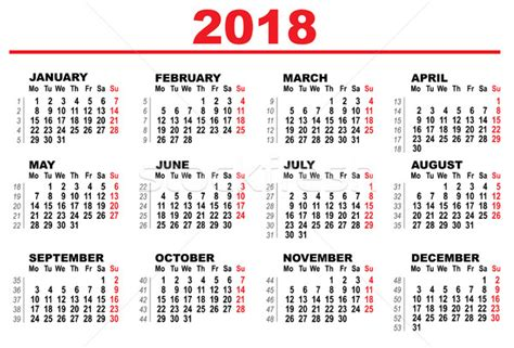grid calendar for 2018 vector illustration 169 alexey